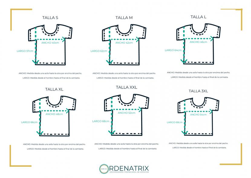 Medidas camisetas #ordenaresguay