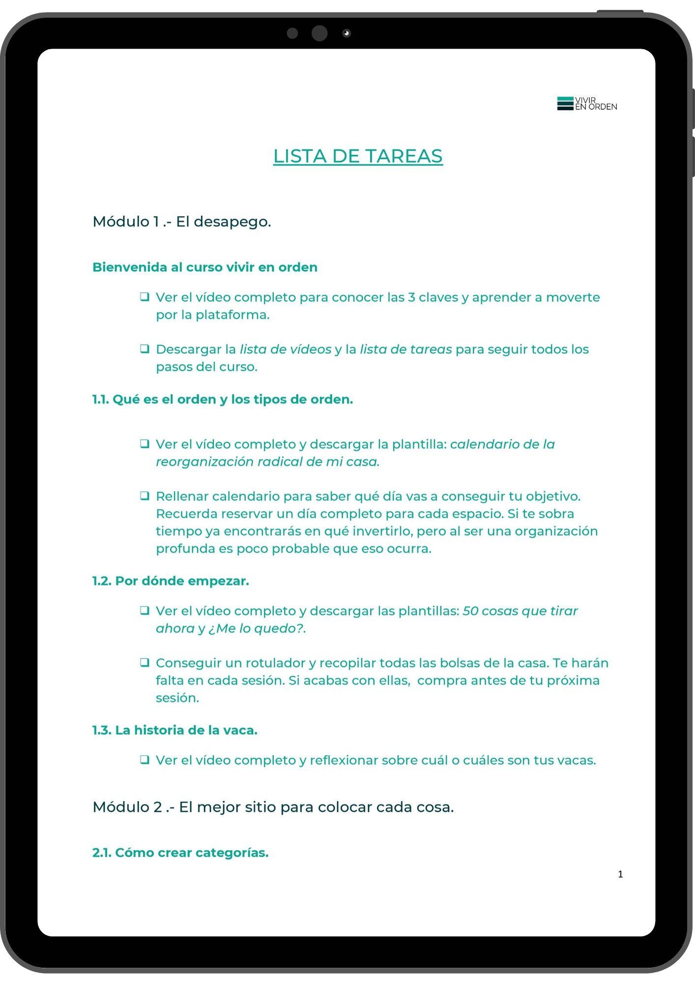 lista tareas tablet